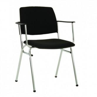 Посетителски стол Isit Arm Chrome ЕCO- черен