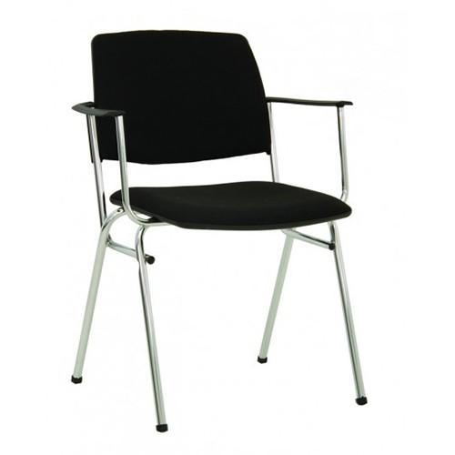 Посетителски стол Isit Arm Chrome - черен