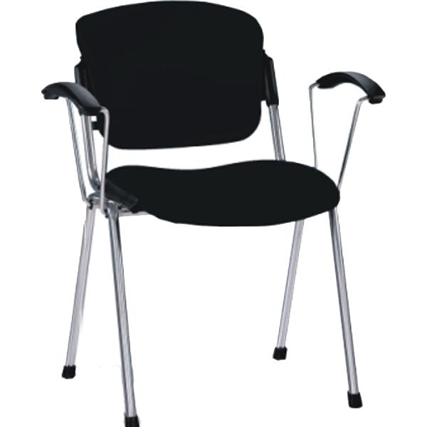 Посетителски стол Era Arm Chrome - черен