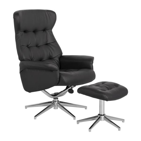 Кресло с табуретка - DAVINA еко кожа черен