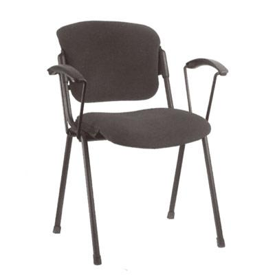 Посетителски стол Era Arm Black - сив